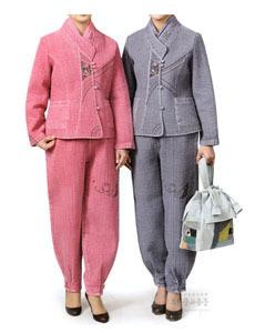 (겨울용) 이중직 3p 생활한복 (분홍, 회색) 여