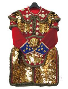 털 장군복 (전체 비늘-쇠, 비닐) 빨강 (모자 포함)
